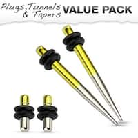 Yellow & Silver Titanium IP 316L Steel Plug & Taper with O-Ring Set Value Pack