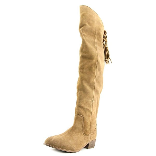 Musse & Cloud Apsel Women Round Toe Suede Brown Over the Knee Boot