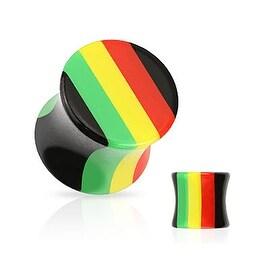 Rasta Stripe All Acrylic Saddle Plug (Sold Individually)