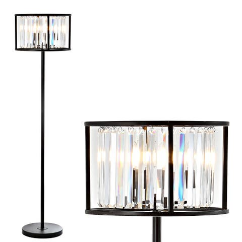 """Bevin 63"""" Metal/Crystal LED Floor Lamp, Oil Rubbed Bronze/Crystal by JONATHAN Y - 63.375"""" H x 15.75"""" W x 15.75"""" D"""
