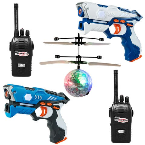 Gymax Infrared Laser Tag Guns 2 Players Blasters Game w/2 Walkie talkies & Flying ball