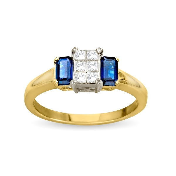 1/4 ct Diamond & 3/4 ct Sapphire Ring in 14K Gold - Size 7