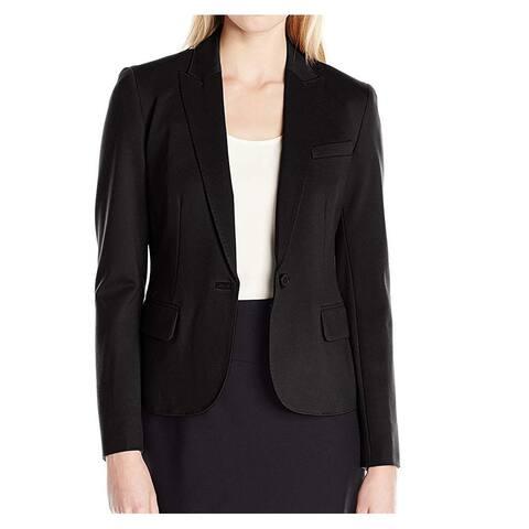 Anne Klein Women's Jacket Black Size 2 Ponte One Button Peak-Lapel