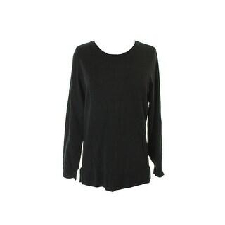 Alfani Black Long-Sleeve Crew-Neck Sweater M