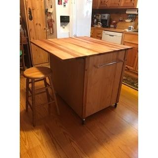 Shop Deep Drawer Hardwood Kitchen Island   Free Shipping Today    Overstock.com   9392423