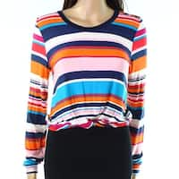 Moa Moa Womens Large Twist-Detail Striped Knit Top
