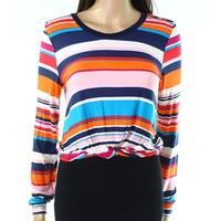 Moa Moa Womens Large Twist-Detail Striped Knit Top