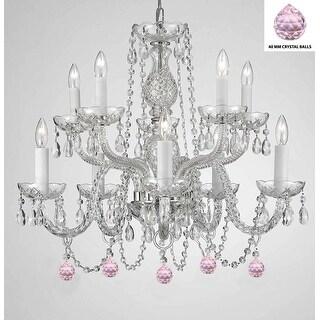 Empress Crystal (TM) Chandelier Lighting with Pink Color Crystal Balls