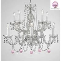 Swag Plug-In Empress Crystal (TM) Chandelier Lighting With Pink Crystal Balls