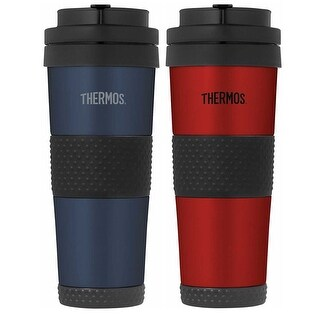 Thermos Vacuum Insulated 18oz Steel Travel Tumbler (2-Pack, Red & Blue)