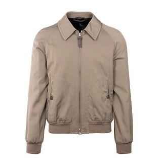 Tom Ford Mens Brown Beige Bomber Travel Jacket - M
