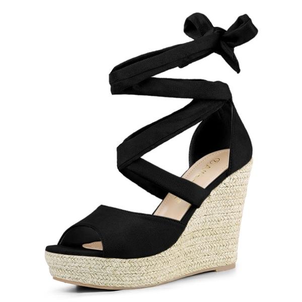Lace Up Espadrilles Wedge Sandals