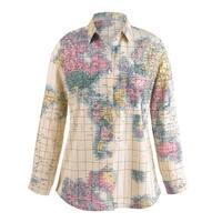 Women's World Map Blouse - Classic Men's Button Front Style Ladies' Fit - MultiColor
