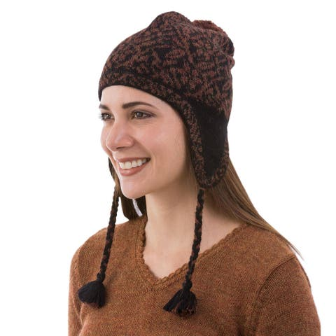 NOVICA Floral AndesWool chullo hat