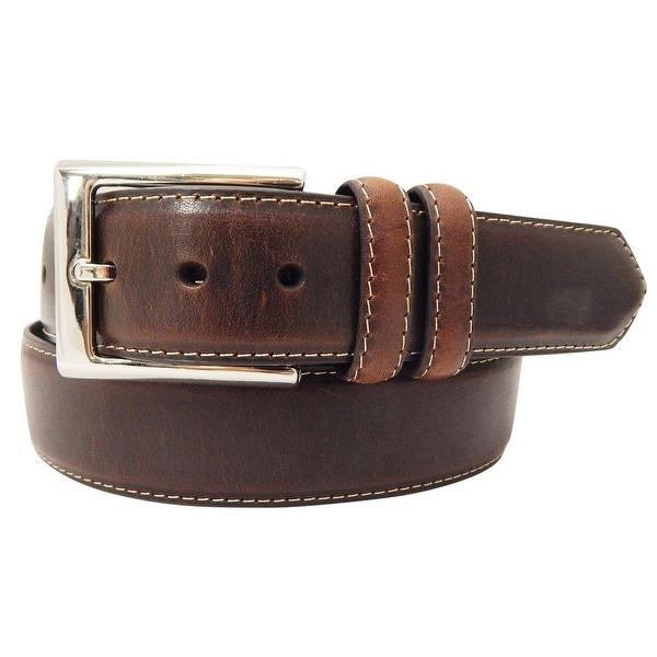 Danbury Western Belt Mens 35MM Contrast Stitched Edge Brown