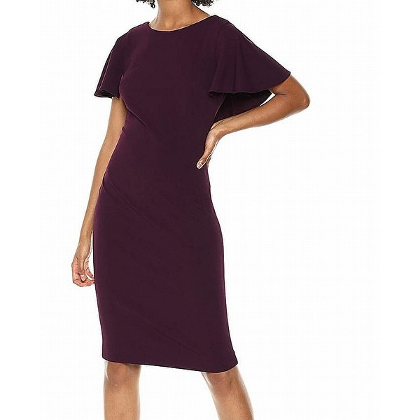 92925f10669 Shop Calvin Klein Purple Aubergine Womens Size 14 Caped Sheath Dress - Free  Shipping Today - Overstock - 27142419