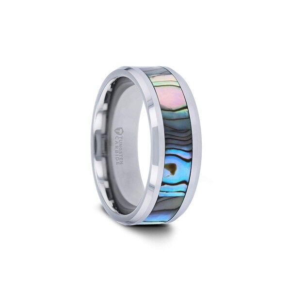 Tungsten 8mm Thorsten Wedding Ring Band with Mother of Pearl Inlay Tungsten Rings for Men Comfort Fit