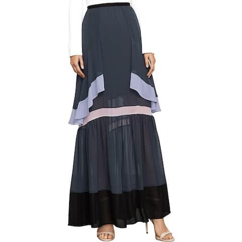 BCBG Max Azria Womens Yuliana Maxi Skirt Ruffled Colorblock