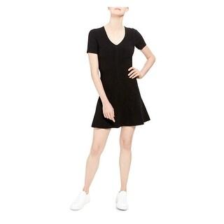 THEORY Womens Black Short Sleeve Mini Fit + Flare Dress  Size P