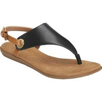 fac1ae96a Aerosoles Women s In Conchlusion Thong Sandal Black Leather Faux Leather