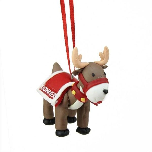 "2.25"" Red Santa's Reindeer ""Donner"" Hanging Christmas Ornament"