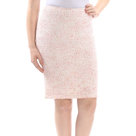 ST JOHN Womens Ivory Textured Above The Knee Pencil Skirt Size: 14