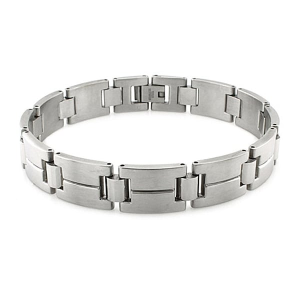 Men's Satin Finish Stainless Steel Link Bracelet - 8.5 Inches