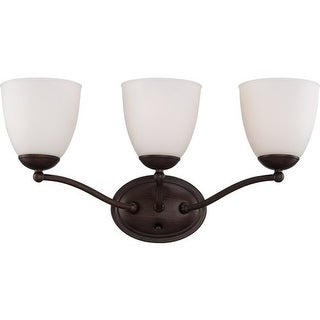 Nuvo Lighting 60/5153 Patton ES Three-Light Bathroom Fixture with Frosted Glass Shades - prairie bronze