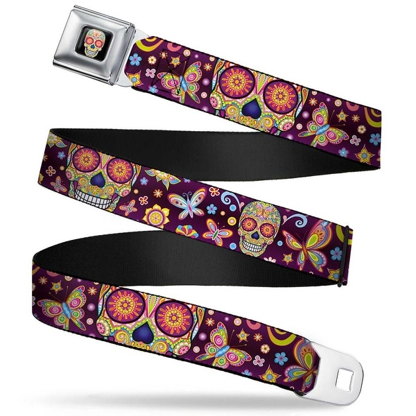 Mariposa Calavera Full Color Black Multi Color Mariposa Calaveras Seatbelt Belt