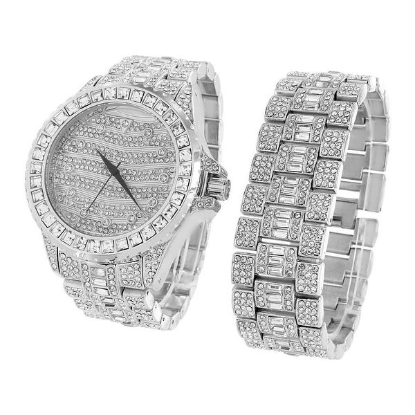 Mens Iced Out Simulated Diamonds Watch & Bracelet Set Silver Tone Stainless Steel Back