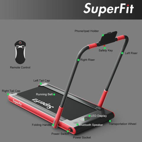 Folding Under Desk Treadmill with Bluetooth Speaker Remote Control-Red