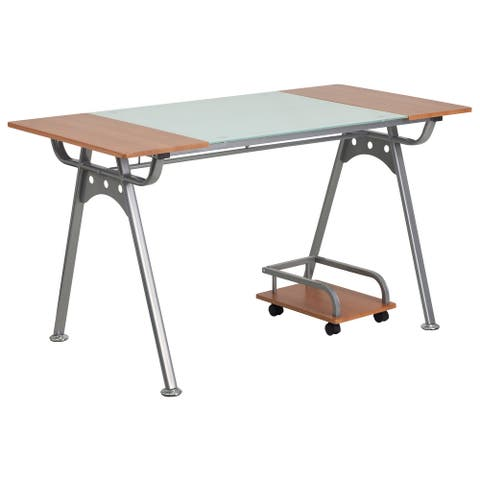 Glass and Cherry Laminate Top Computer Desk with CPU Cart & Silver Metal Frame