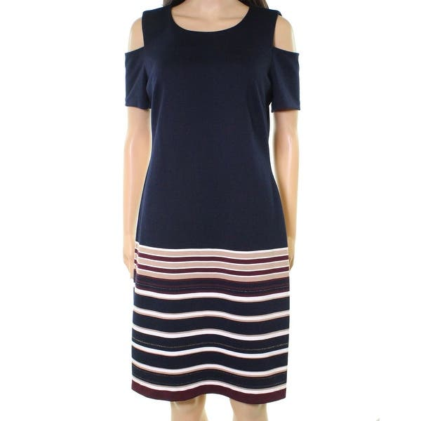 b02432f617d Shop Tommy Hilfiger NEW Blue Womens 18 Striped Cold-Shoulder Sheath Dress -  On Sale - Free Shipping Today - Overstock.com - 21860232