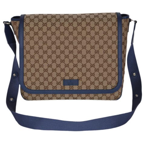 Gucci 510340 Beige Blue Original Canvas GG Convertible Diaper Bag