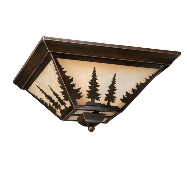 """Vaxcel Lighting CC55514 Yosemite 3-Light Flush Mount Indoor Ceiling Fixture with Tree Portrait Glass Shade - 14"""" Wide"""