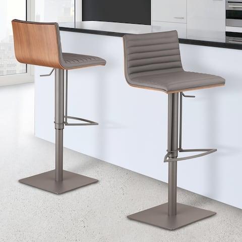 Armen Living Cafe Adjustable Metal Barstool with Walnut Back