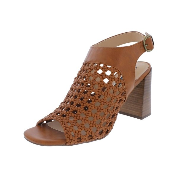 Kensie Womens Sandria Heels Faux Leather Macrame