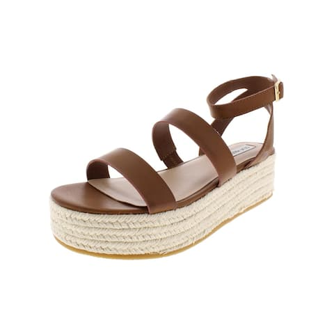Steve Madden Womens Sarong Wedge Sandals Faux Leather Espadrille
