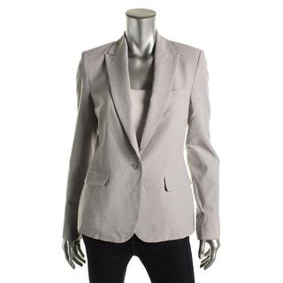 Theory Womens Virgin Wool Heathered One-Button Blazer - 6