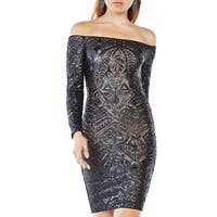 BCBG Max Azria Womens Eunice Cocktail Dress Sequined Long Sleeves