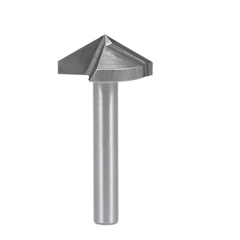 Router Bit 6mm Shank 22mm Dia 120 Degree V-Groove End Mill Tungsten Steel CNC - Silver - 6x22mm 120 Degree