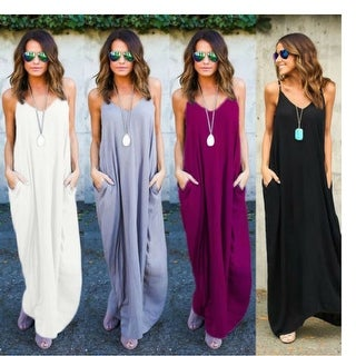 Luxe Scoop-neck Maxi Dress with Pockets - 5 Delish Colors!