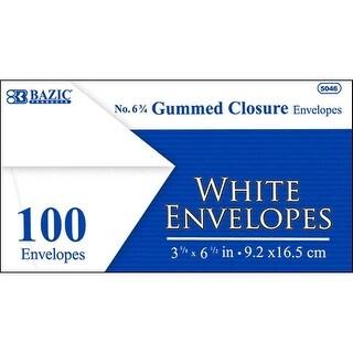 Bazic Envelope #6 White w/ Gummed Closure 100pc