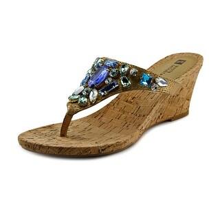 White Mountain Ablaze Women Open Toe Leather Blue Wedge Sandal