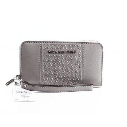 Michael Kors NEW Gray Micro Studded Gusset Zip Around Wristlet Wallet