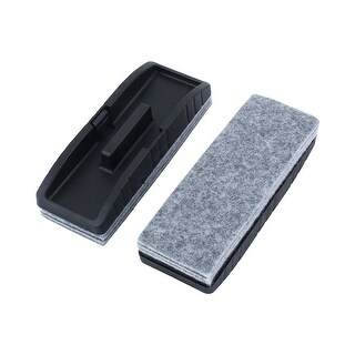 Teaching Plastic Rectangle Blackboard Eraser Brush Stain Removal Black 2pcs