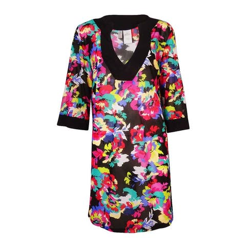 Anne Cole Women's Floral-Print Tunic Cover Up, S/M, Multi - S/M
