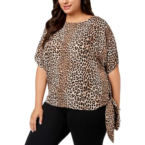 MICHAEL Michael Kors Womens Pullover Top Animal Print Side Tie - 1X