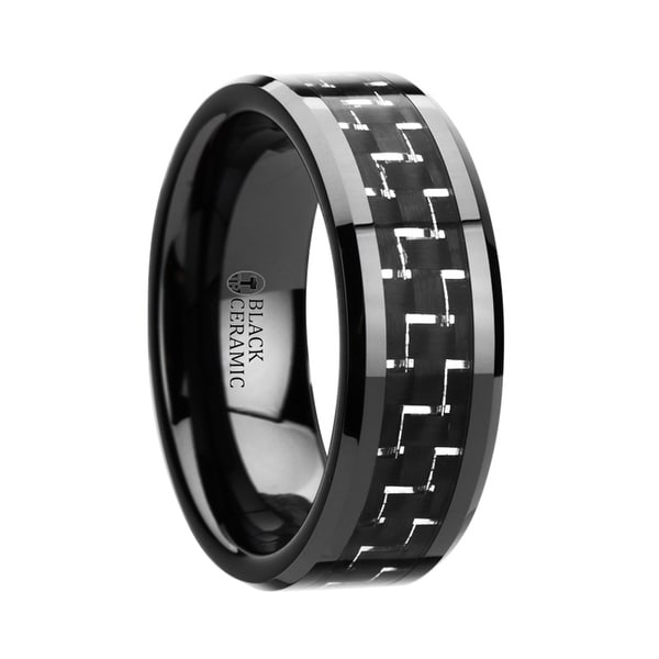 TITAN Black Beveled Ceramic Ring with Silver & Black Carbon Fiber Inlay 8mm
