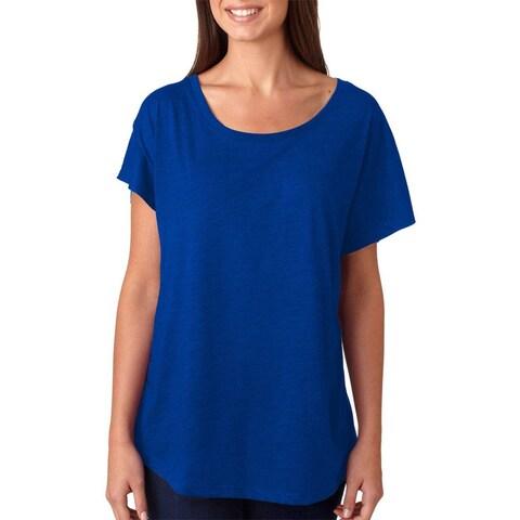 Next Level Women's Tri-Blend Dolman Scoop Neck T-Shirt - Vintage Royal - Small